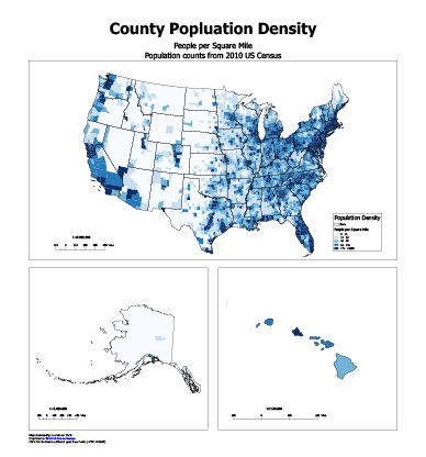 Lee Mosers Digital Mapping Portfolio - Us population density by county map